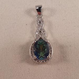 Jewelry - 18K White Gold Blue Mystic Topaz Zircon Pendant GF